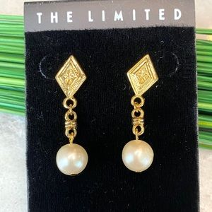 Vintage The Limited Art Deco Style Pearl Earrings